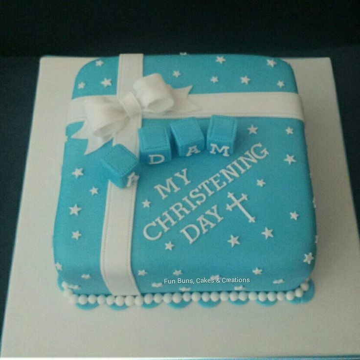 Blue square baby boy christening cake