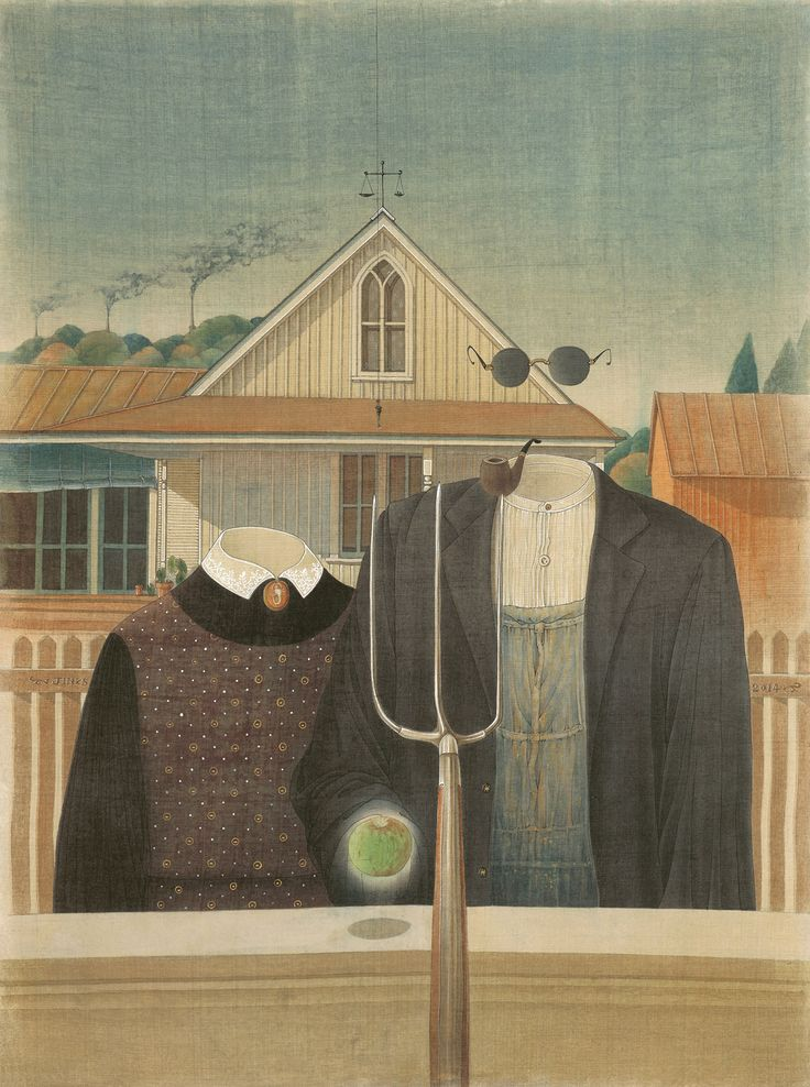 """Contemporary Takes on China's Oldest Painting Technique. Jin Sha, """"Salute to Masters: Conversation with Grant Wood"""" (2014), ink and color pigment on silk"""