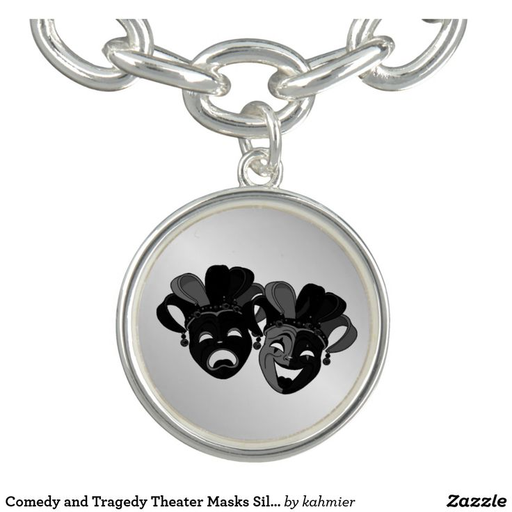 Sold 2 Comedy and Tragedy Theater Masks Silver Charm Bracelets