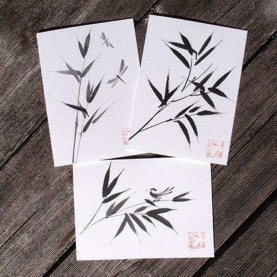 Going Bamboo  Set of 3 Original Chinese Brush by KelliMcNicholsArt