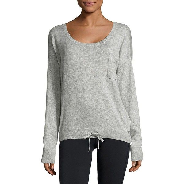 Calvin Klein Women's Rib-Trimmed Sweater ($68) ❤ liked on Polyvore featuring tops, sweaters, grey, sport sweaters, sports pullover, sweater pullover, long sleeve pullover sweater and calvin klein pullover