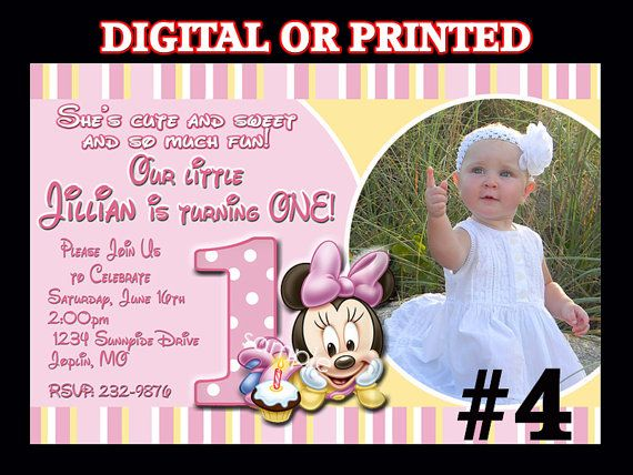 Minnie Mouse First Birthday Invitation YOU by LetsPartyShoppe