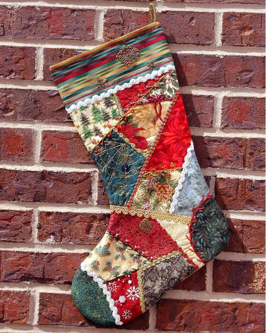 Quilted Patchwork Christmas Stocking - I would love this in all white patterns!