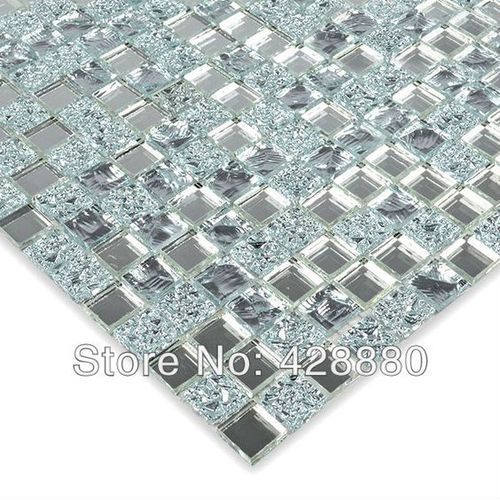 Crystal Glass Wall Tiles Mirror Tile Backsplash Kitchen ideas Mirror Mosaic Tile designs Bathroom Mirrored Wall stickers HS0031