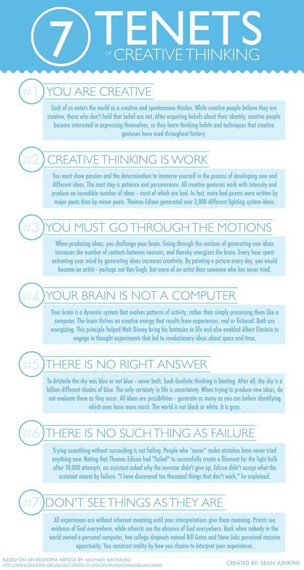 Los 7 principios del pensamiento creativo #Infografia #Creatividad