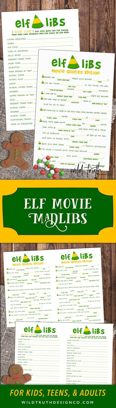 $ Elf Mad Lib Christmas Activity - Buddy The Elf Movie Quote Game -- Play it at your Christmas party, spice up that office party, or add them to stocking stuffers or holiday treat bags. Don't be a cotton headed ninny muggins. Download your today!
