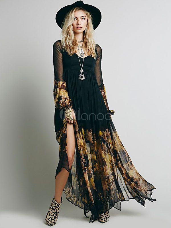 Black Boho Dress Long Sleeve Rayon Maxi Dress - Milanoo.com