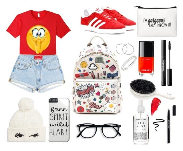 """""""Excited Emoticon t shirt"""" by beldisegno on Polyvore featuring Anya Hindmarch, adidas Originals, Chanel, Herbivore, Messika and Kate Spade"""