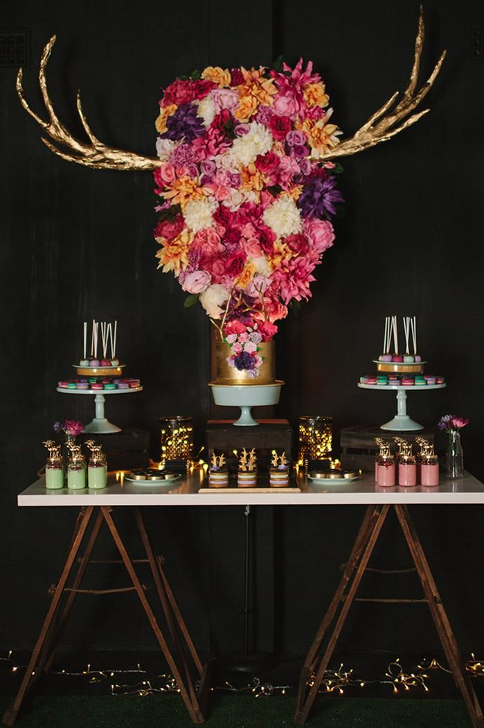 A 40th Birthday Party Full of gorgeous IDEAS via Kara's Party Ideas | KarasPartyIdeas.com #AntlerParty #ElkParty #ShabbyChic #Partydeas #DeerAntlers