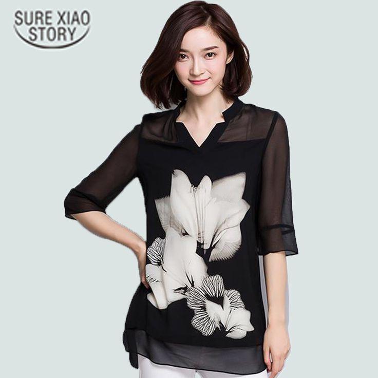 2016 Hot sale women chiffon  Blouse large size Casual black Chiffon Floral Print V Neck long Sleeve Elegant shirts women 60C 25