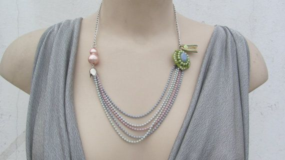 Pale colours Women's pendant , Pearl Necklace , Handmade by CANDYlook4u