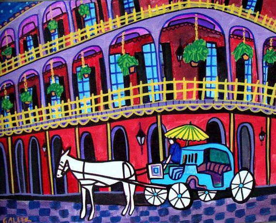 50% Off- New Orleans Art - French Quarter City Art - Print Poster of Painting CIT114