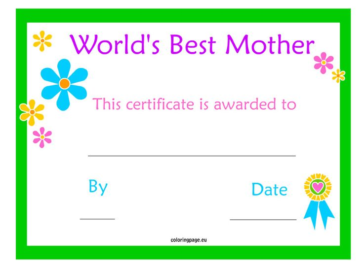 Perfect Mom Coloring Pages Certificate Pictures - Professional ...