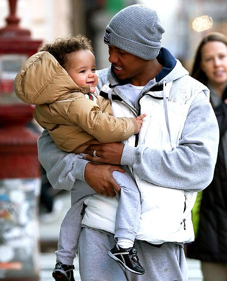 Nick Cannon ogled son Moroccan, 22 months, during a chilly stroll in NYC Feb. 1