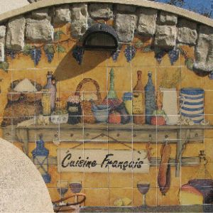 Pizza Oven ; Handprinted Tile Mural ; completed 2005