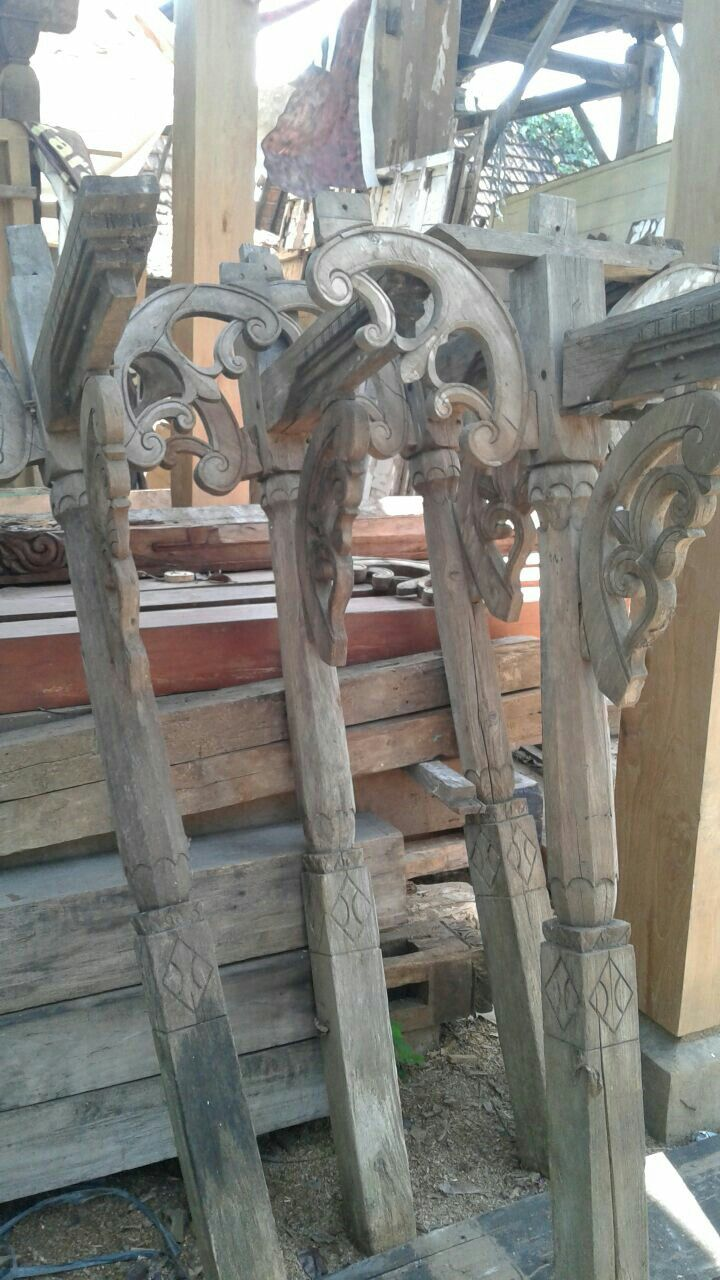 Pillars of Verandah used in traditional house of Kudus, Central Java, Indonesia.