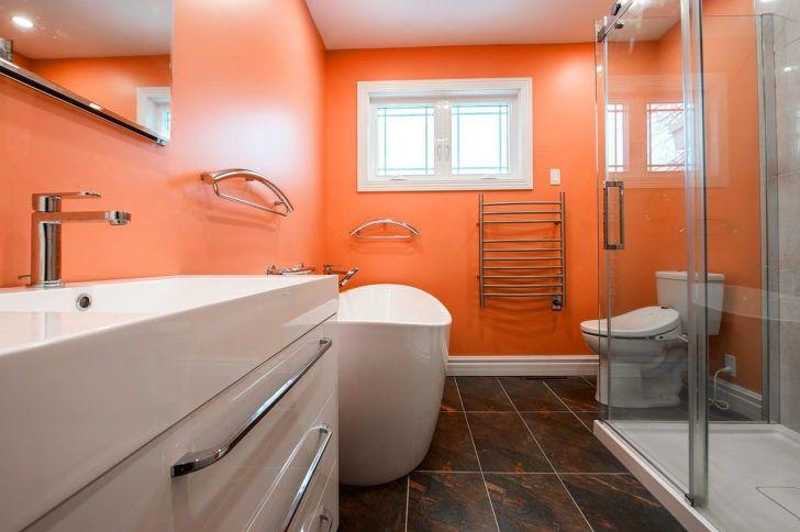 El Color Naranja En Las Paredes Pequenas Renovaciones Del Bano