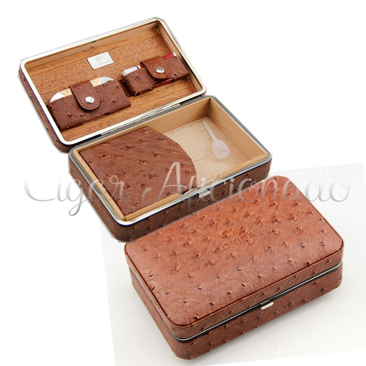 COHIBA Pretty Gadgets Travel Brown Leather Cigar Case Portable Cigar Humidor W Torch Jet Flame Lighter& Metal Cigar Cutter Set