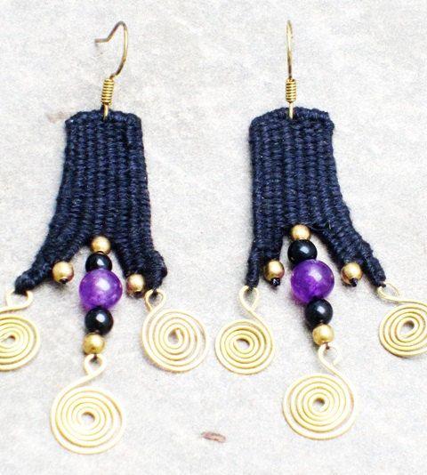 Handmade Needle Weaving Earring Brass Spiral Custom by paiweaver, $14.00