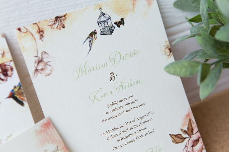 Lovely wedding invitation, with sweet and free birds and butterflies fly in a summer background