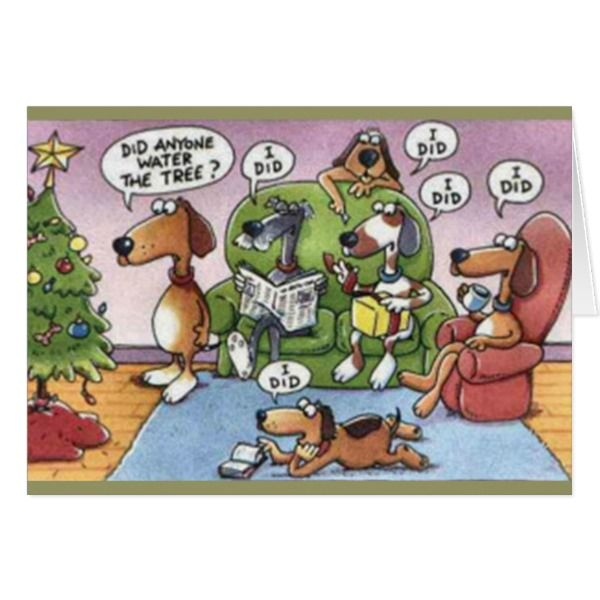 Humorous Christmas Cards.Funny Dogs Water Tree Humorous Christmas Card Zazzle Com