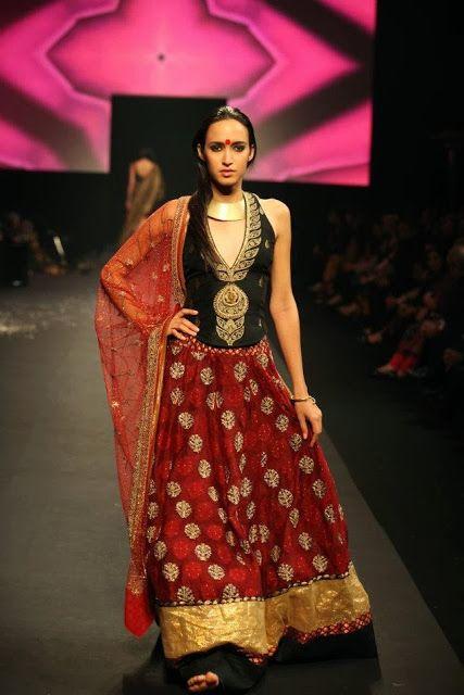 #RituKumar #Designer Black and Red #Lehenga