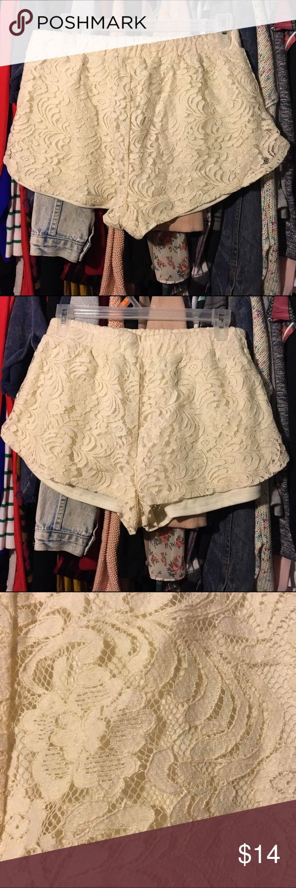 Lace cream shorts Lace cream shorts never worn, can look very cute with boots, high boots work too. Any color or style of shirt goes. Shorts