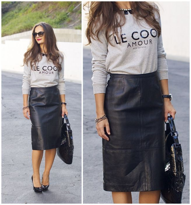 17 Best ideas about Leather Skirt Outfits on Pinterest | Office ...