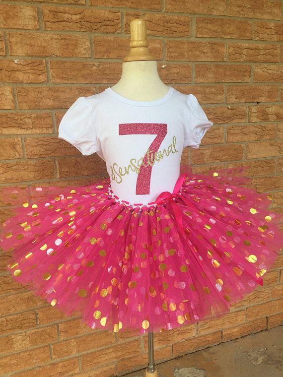 e7cbec2b84ca5 Girl's Seventh birthday, 7th Birthday tutu, 7 pink and gold, girls ...