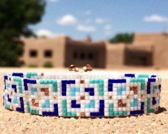 Arco iris explosión grano telar pulsera Boho por PuebloAndCo