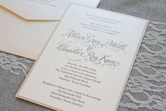 Shimmery Gold Formal Wedding Invitation - Romantic, Simple, Ivory, Traditional  - Allison and Chandler - Custom Designs