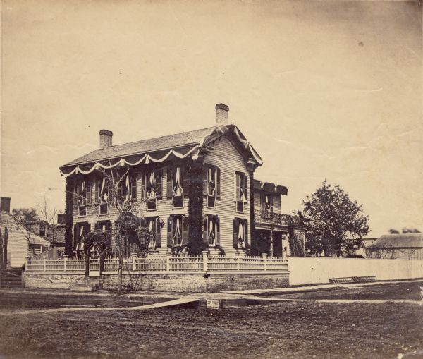 """Abraham Lincoln Home in Springfield during Lincoln's Funeral - Abraham and Mary Lincoln's sons Edward, William, and Thomas (""""Tad"""") were born in the house on Eighth Street in Springfield - Sadly Edward also died while the family lived there."""