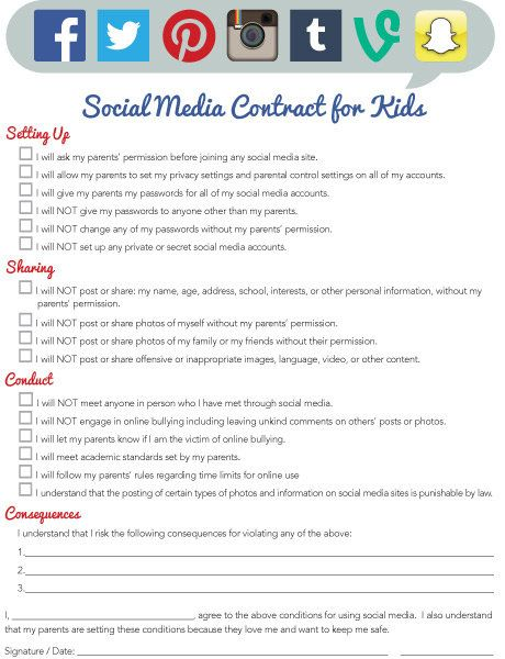 Check out iMOM's Social Media Contract for Kids!
