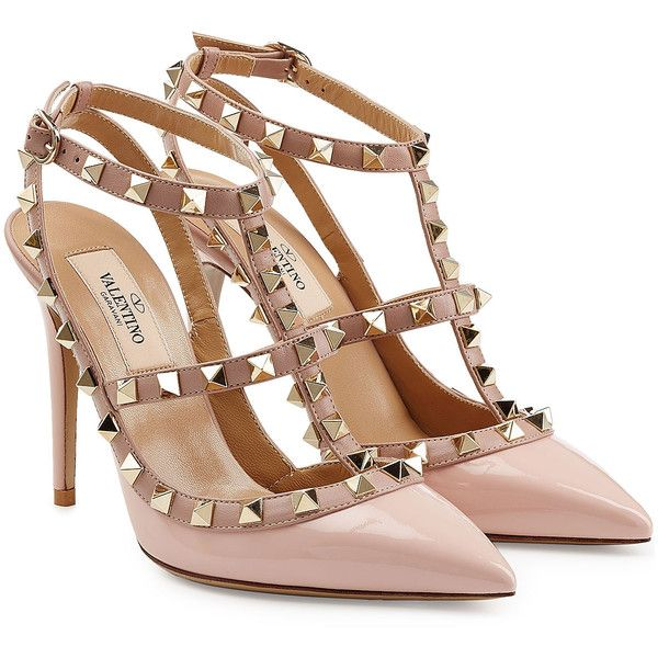 Valentino Rockstud Patent Leather Pumps ($820) ❤ liked on Polyvore featuring shoes, pumps, heels, chaussures, valentino, pink, patent shoes, heel pump, pink shoes and pink patent leather pumps
