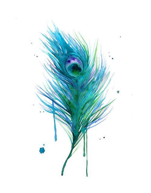Watercolor Peacock Feather Tattoo Design                                                                                                                                                                                 More