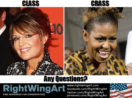 Right Wing Art - Image - Sarah Palin - Class vs. Michelle Obama - Crass