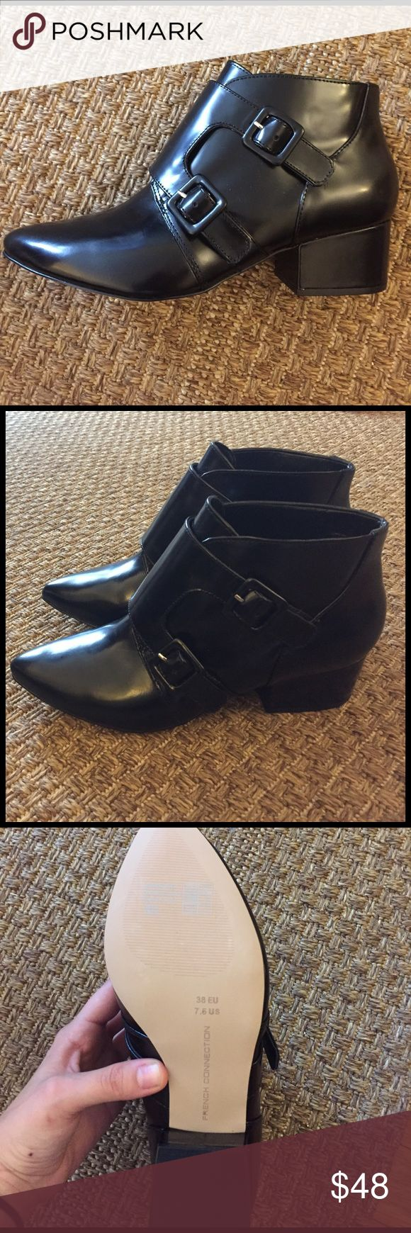 NWOT French Connection Roree booties Perfect heel height and super cute, these booties have never been worn because they're slightly small on me. Size 38 EU, 7.5 US French Connection Shoes Ankle Boots & Booties