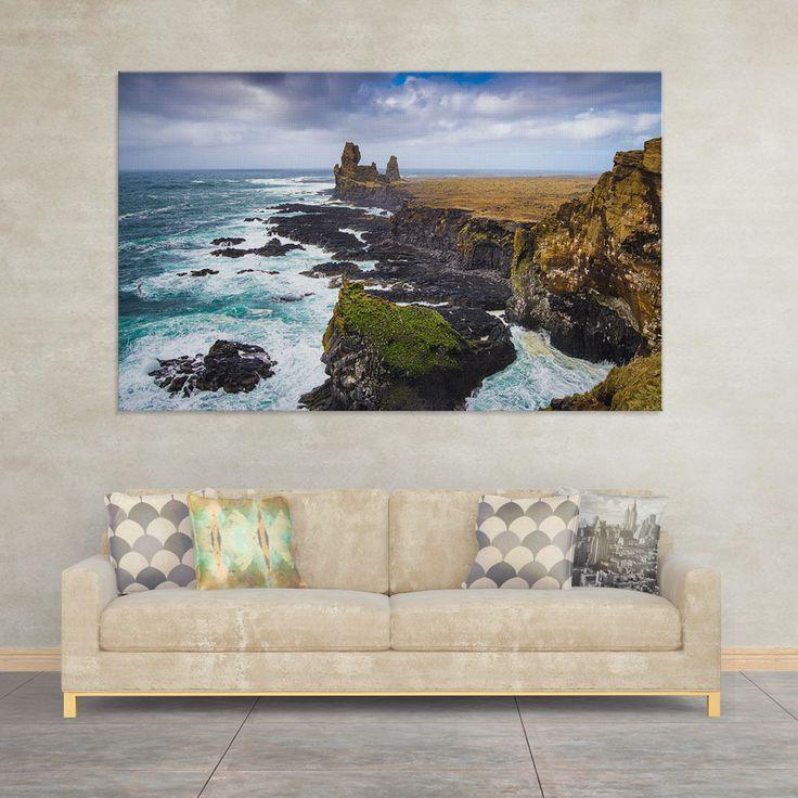 Big Wall Art: Iceland Coast (Londrangar Basalt Cliffs, Snaefellsnes). Great gift for every Iceland lover! #iceland #bigwallart #coast