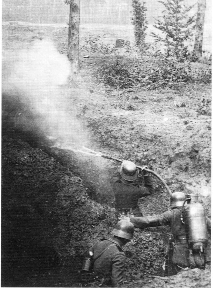 The German light flame thrower of the First World War was operated by two men: one carried the tank of compressed nitrogen, the other aimed the hose. Early models had to be lit by hand, which proved dangerous. Later versions incorporated an automatic ignition system. First tested against the French at Verdun in February of 1915, the two man flame thrower (Kleines Flammenwerfer) proved to be a terrifyingly effective weapon. WW I