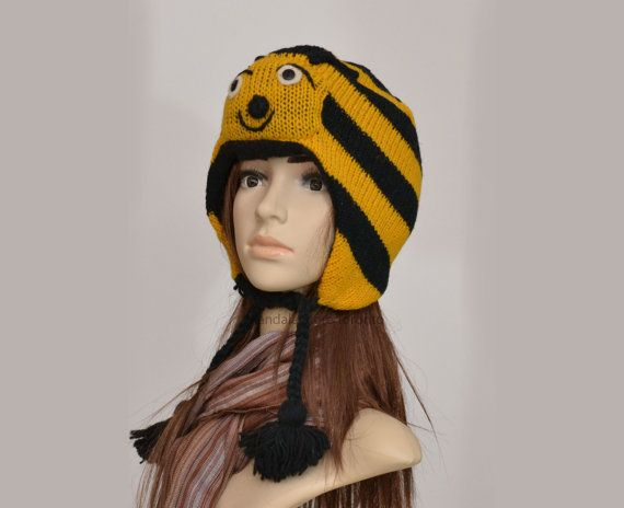 Buzzy Bumble bee animal hat   warm hat  knit hat by HatsMittensEtc