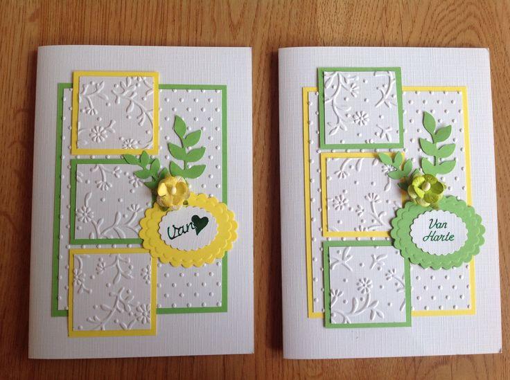 Yellow & green twin cards - Geel & groene duokaarten