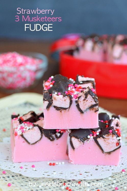 Strawberry 3 Musketeers Fudge - 3 Musketeers candy bars add a fun twist to this easy strawberry fudge