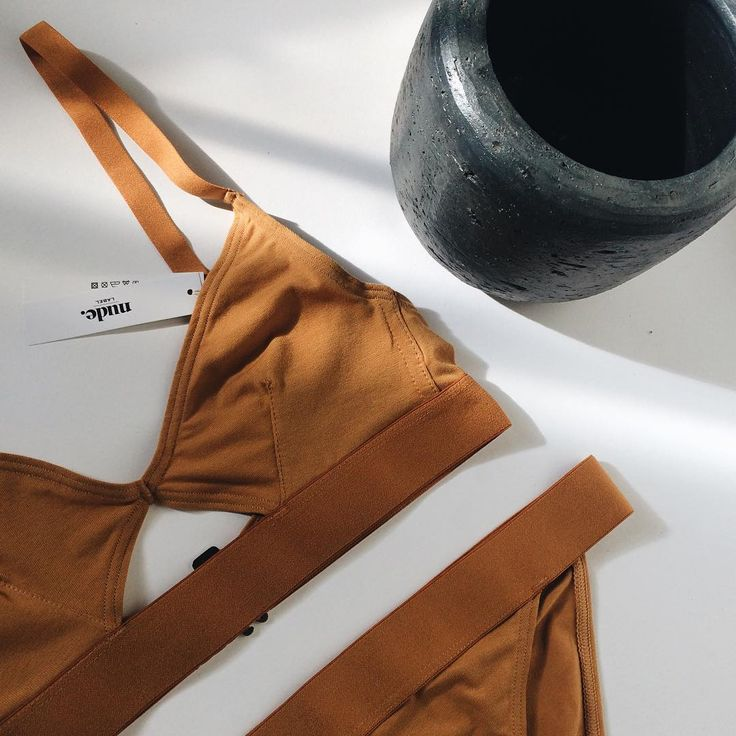 New collection: cut-out bra and brief from The Nude Label in caramel.