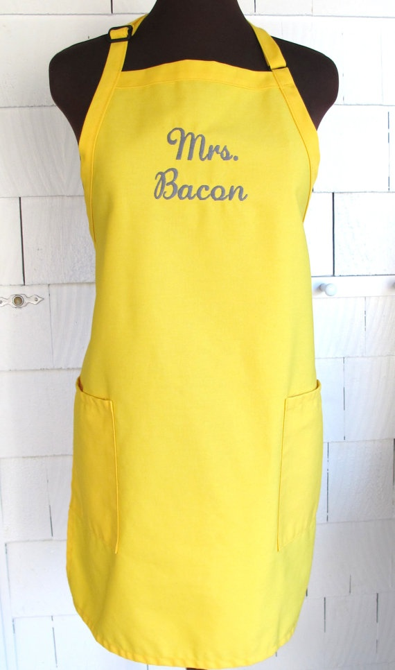 Personalized Wedding Apron  Canary Yellow by aTwinkleStar on Etsy, $22.00