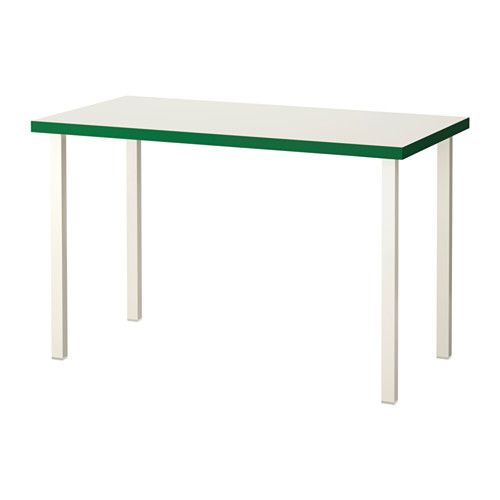 IKEA - LINNMON / GODVIN, Table, white/green/white, , The table can be moved across the floor without worry because the plastic feet protect against scratching.