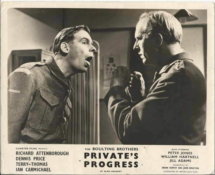 Lobby card showing Ian Carmichael and Ronald Adam in Private's Progress. 1956