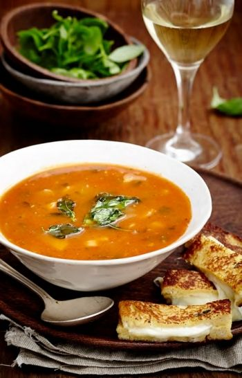 Roasted Tomato Soup with Cheesy French Toast