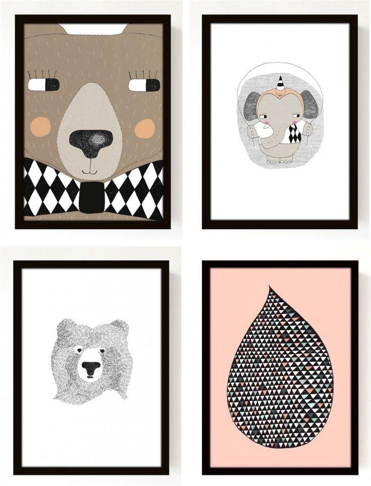 Kids room posters seventy tree felipe pinterest for Black and white kids room