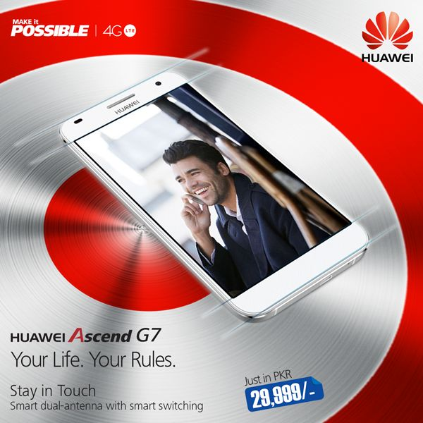 #Huawei #AscendG7 #4GLTE specially-designed double smart antennas makes it possible that the voice communications are always smooth and the Internet state is always stable no matter where you are. #YourLifeYourRules Just in PKR29,999/-#HuaweiPakistan  Hey #Huaweians what is your favorite #smartphone app.?  (1) WhatsApp (2) FacebookMessenger (3) Viber (4) ____ Others?  www.instagram.com/huaweipakistan