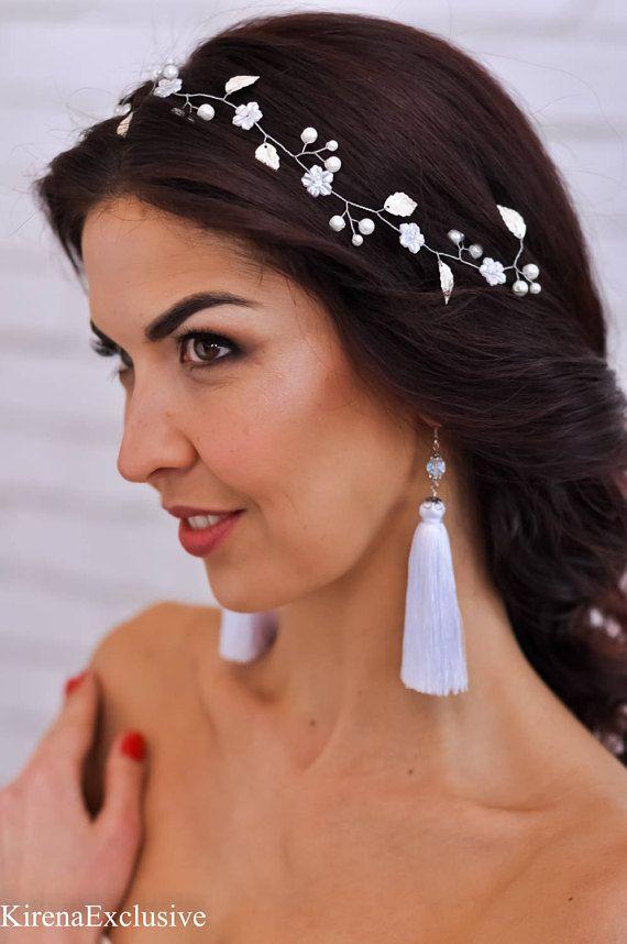 Morceau de cheveux de mariage parure de mariage blanc fleur bandeau de mariage Couronne headband mariage mariée serre-tête diadème de mariée mariage cheveux vigne